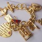 Chunky Filigree Gold Tone Key I Love You Je Ti Amo 3D Heart Love Valentines Day Charm Bracelet