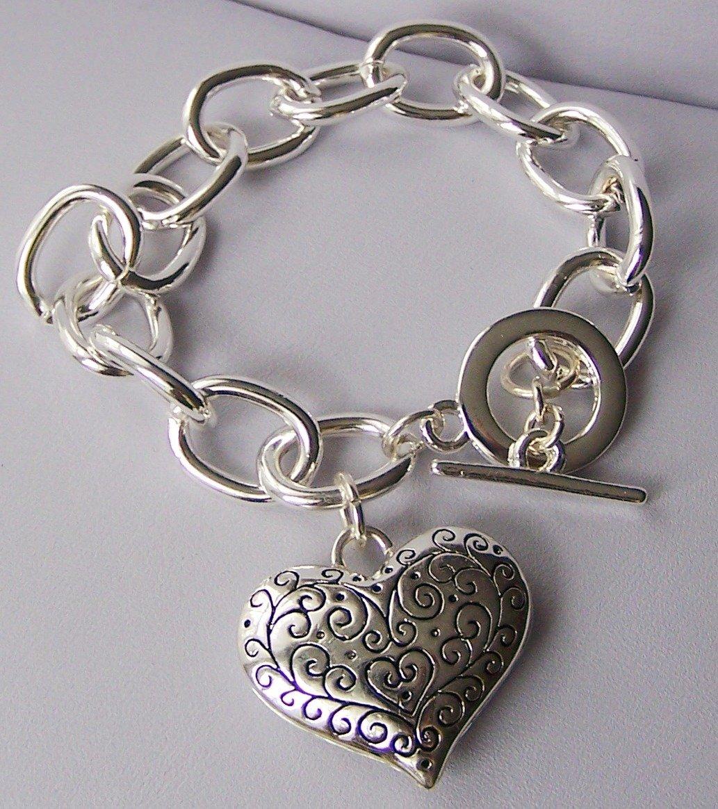 3D Puffy Filigree Silver Tone Heart Love Valentines Day Charm Bracelet