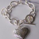 3D Puffy Filigree Silver Tone Heart Love Valentines Day Charm Bracelet
