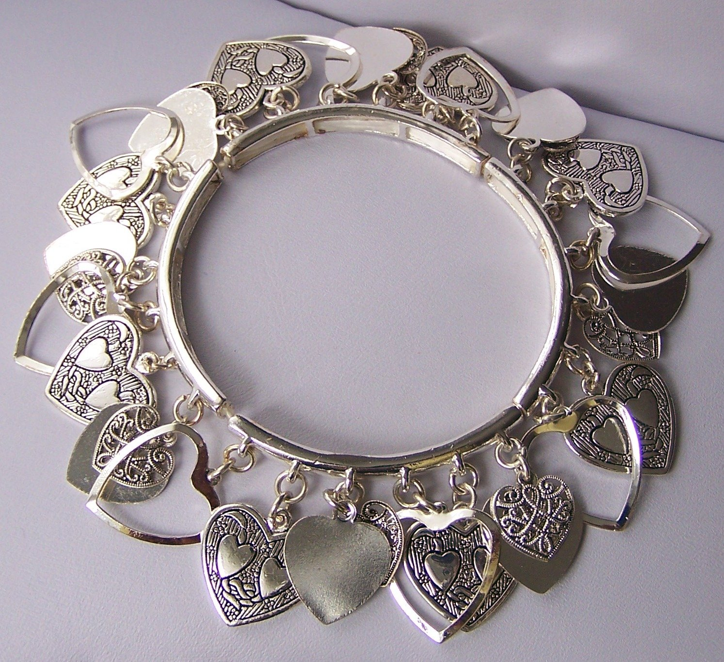 Open Bangle Filigree Silver Tone Heart Love Valentines Day Charm Bracelet