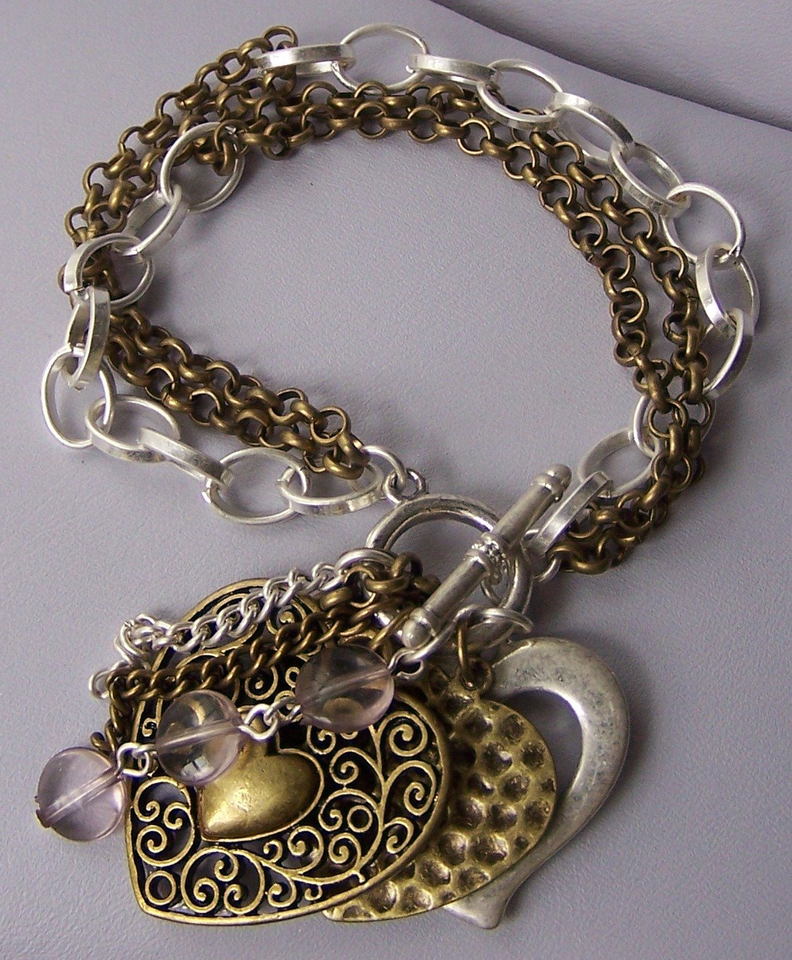 Burnished Two Tone Silver Tone Heart Love Valentines Day Charm Bracelet