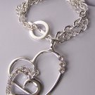 Two Clear Crystal Silver Tone Heart Love Valentines Day Charm Bracelet