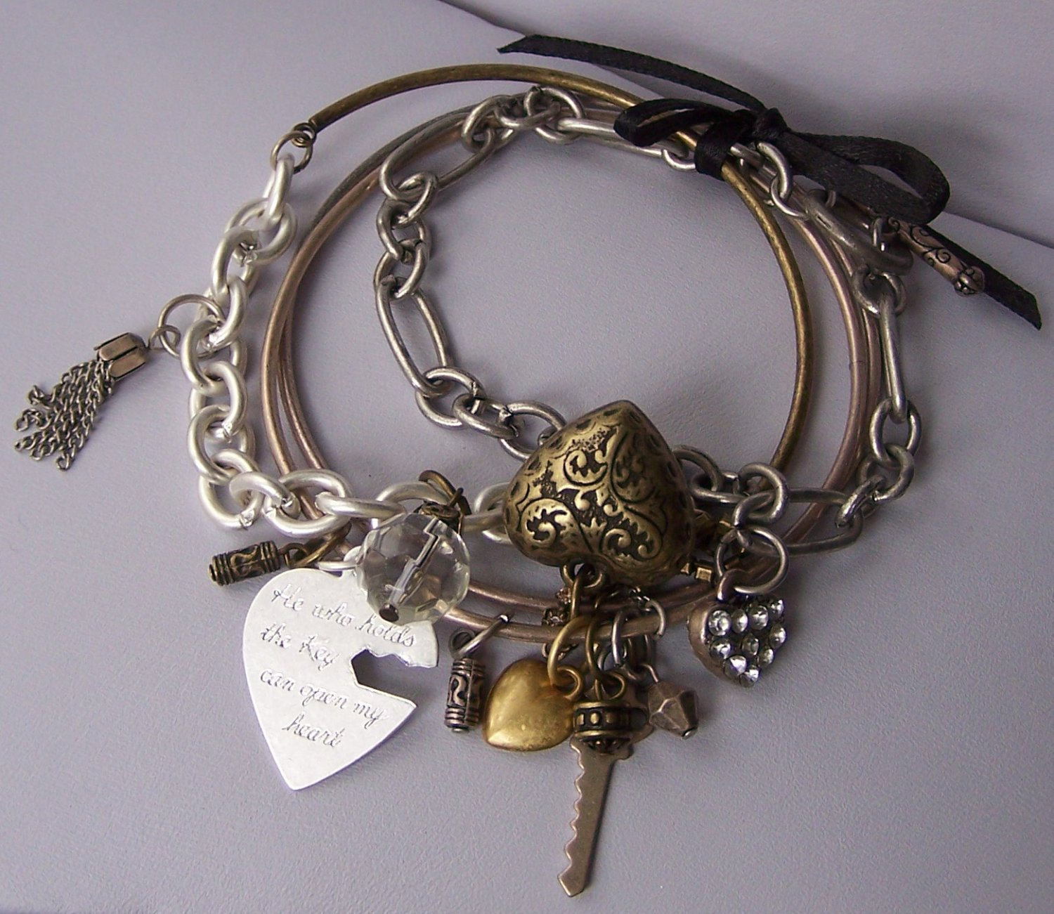 Tritone He Who Holds the Key Can Open My Heart Love Valentines Day Charm Ribbon Bangle Bracelet