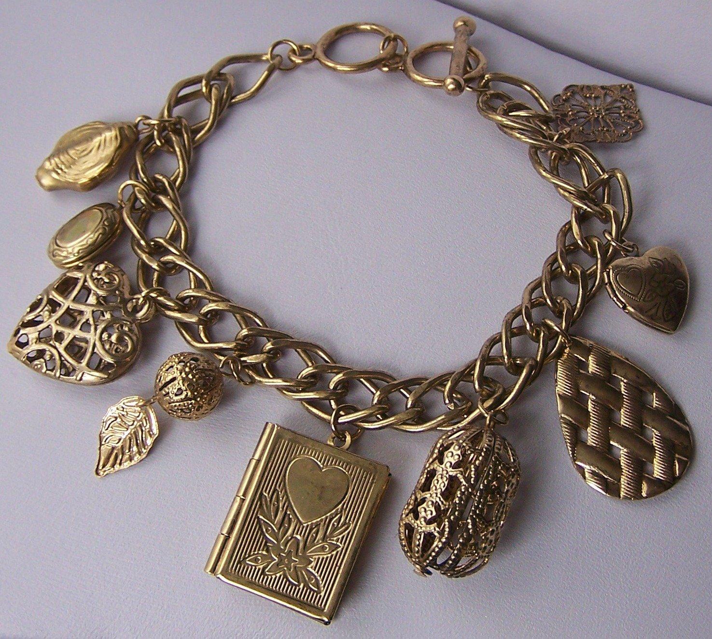 Book Locket Filigree Leaf Leaves Gold Tone Heart Love Valentines Day Charm Bracelet