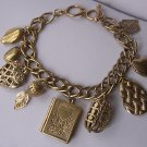 Book Locket Filigree Leaf Leaves Gold Tone Heart Love Valentines Day Charm Bracelet