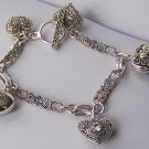 Clear Crystal Filigree Silver Tone Ribbon 3D Heart Love Valentines Day Charm  Bracelet