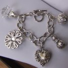 Chunky Filigree Flower Pearl 3D Heart Love Valentines Day Charm Bracelet