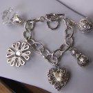 Chunky Filigree Flower Pearl 3D Heart Love Valentines Day Charm Bracelet