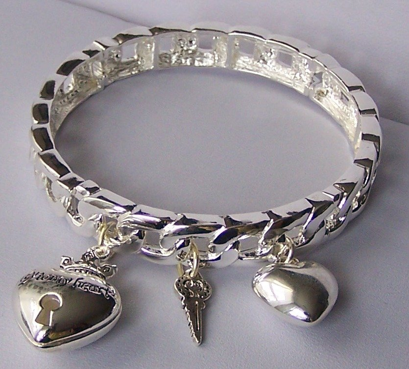 Silver Tone 3D Bangle Key To My Heart Love Valentines Day Charm Bracelet