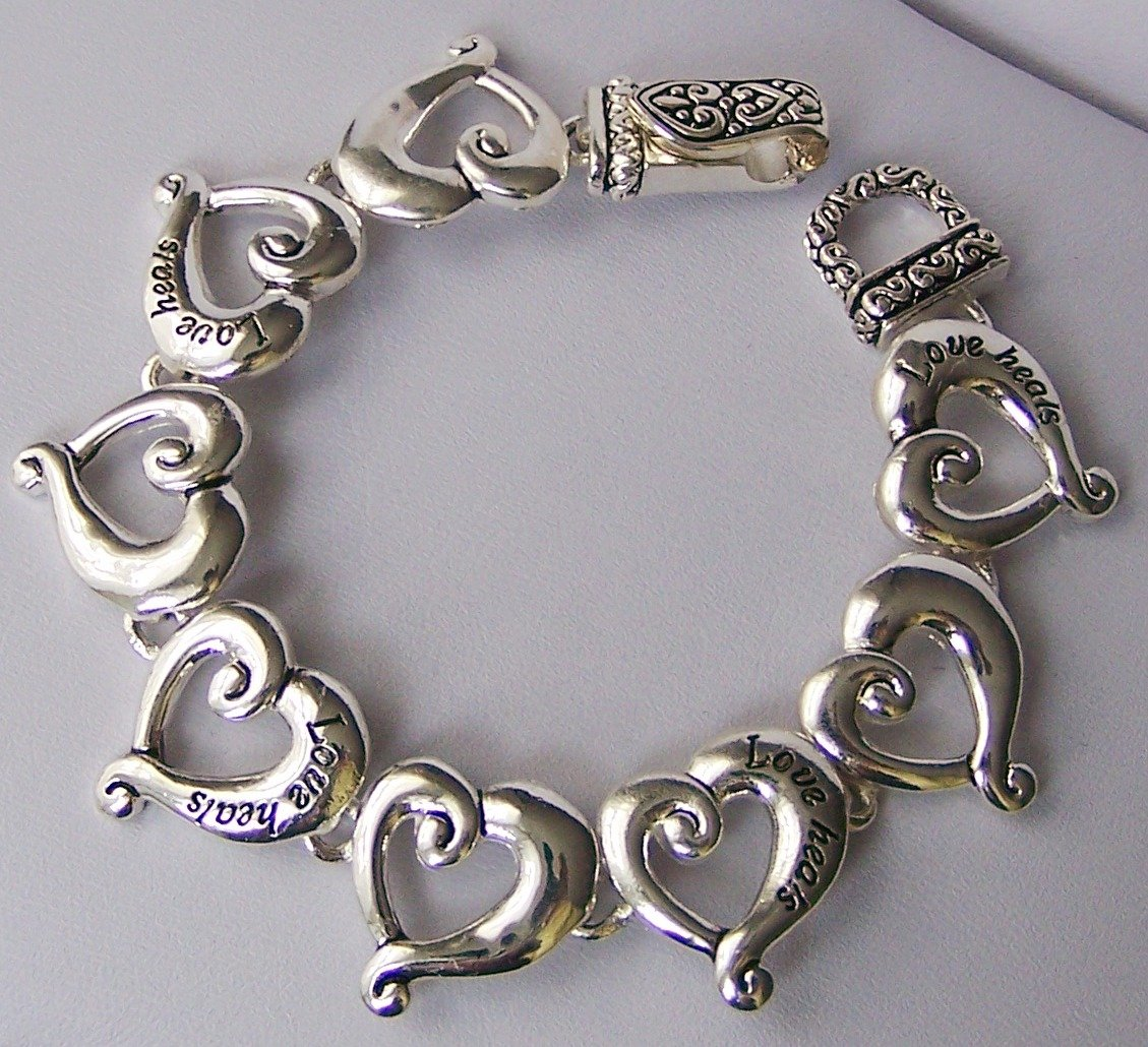 Silver Tone Love Heals Key To My Heart Valentines Day Bracelet