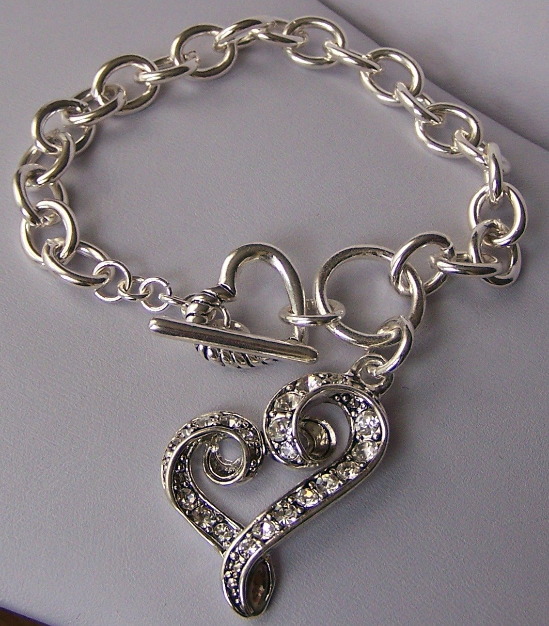 Silver Tone Clear Crystal Heart Love Valentines Day Charm Bracelet