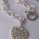 Filigree Heart Love Valentines Day Charm Bracelet