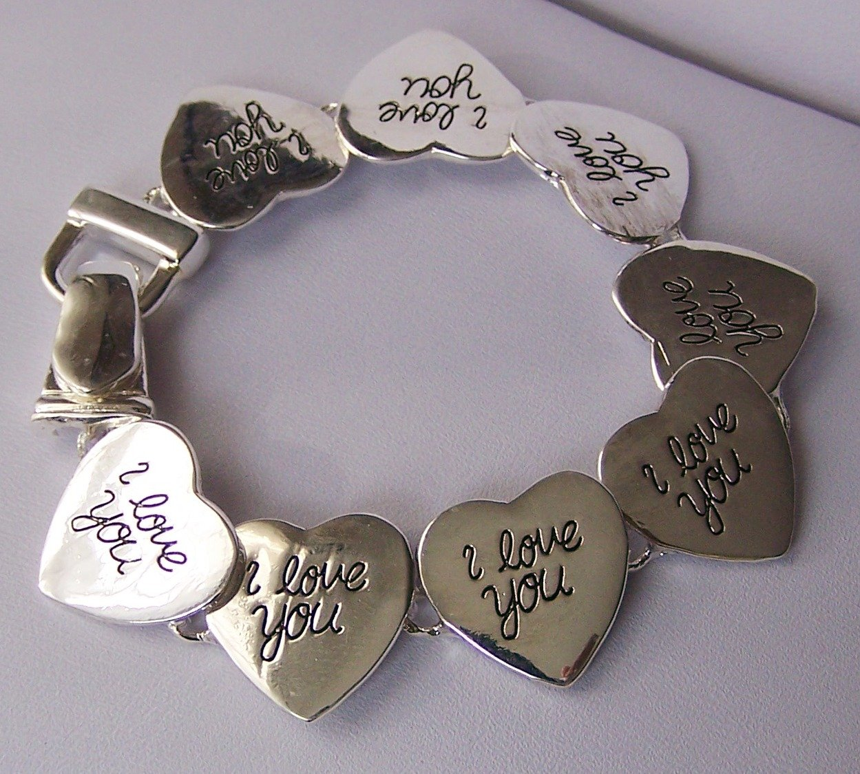 Silver Tone I Love You Heart Valentines Day Bracelet