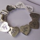 Silver Tone I Love You Heart Valentines Day Bracelet