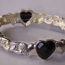 Black Heart Love Valentines Day Bangle Bracelet