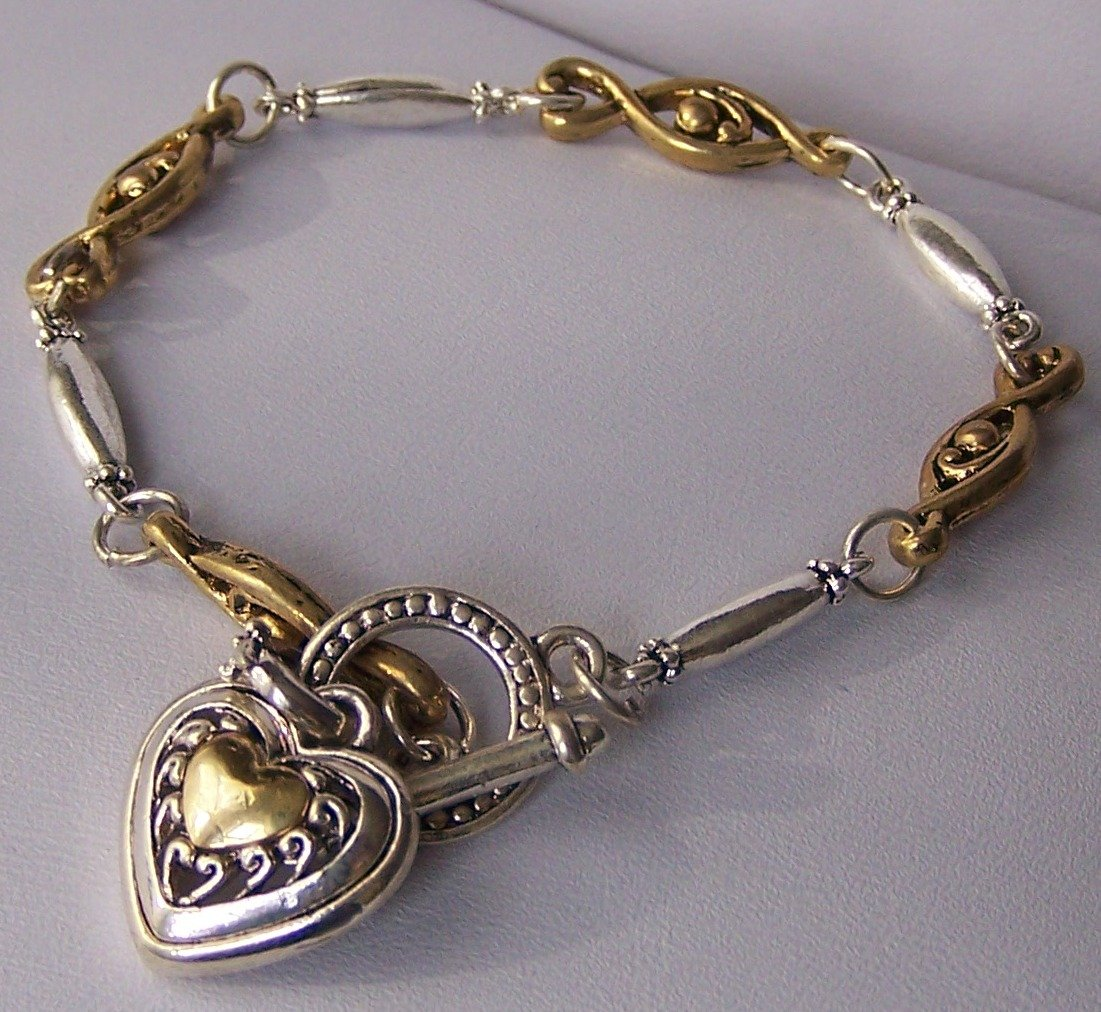 Two Tone Heart Love Valentines Day Charm Bracelet