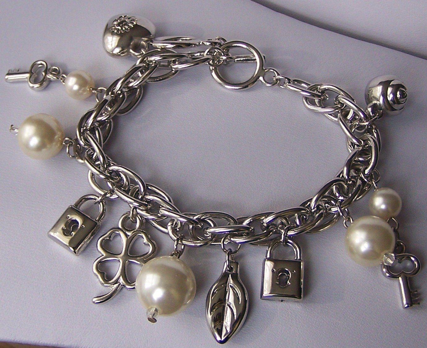 Beige Pearl Key Good Luck Shamrock Lock Heart Love Valentines Day Charm Bracelet