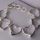 Silver Tone Open Link Heart Love Valentines Day Bracelet