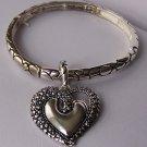 Textured Heart Love Valentines Day Charm Locket Bracelet