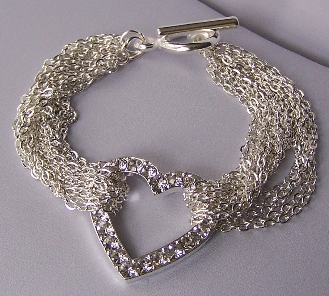 Clear Crystal Multistrand Heart Love Valentines Day Charm Bracelet