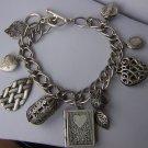 Book Locket Filigree Leaf Leaves Silver Tone Heart Love Valentines Day Charm Bracelet