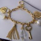 Tassel Beige Pearl Key Heart Love Valentines Day Charm Bracelet