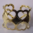 Gold Tone Cuff Heart Love Valentines Day Bracelet