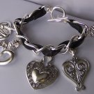 Black Clear Crystal Chunky Filigree Open Pearl Heart Love Valentines Day Charm Bracelet