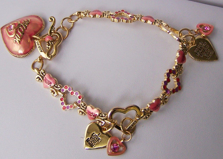 Mom I Love You Pink Valentines Day Charm Bracelet