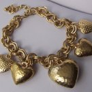 Puffy Doublelink Gold Tone 3D Heart Love Valentines Day Charm Bracelet