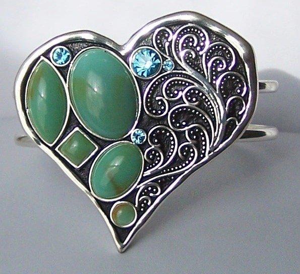 Western Chunky Blue Crystal Fiigree Bangle Heart Love Valentines Day Bracelet