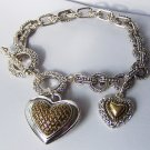 Two Tone Basket Weave Style Heart Love Valentines Day Charm Bracelet