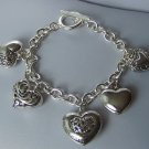 Puffy Silver Tone Key 3D Link Heart Love Valentines Day Charm Bracelet