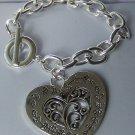 Chunky Filigree Heart Love Valentines Day Charm Bracelet