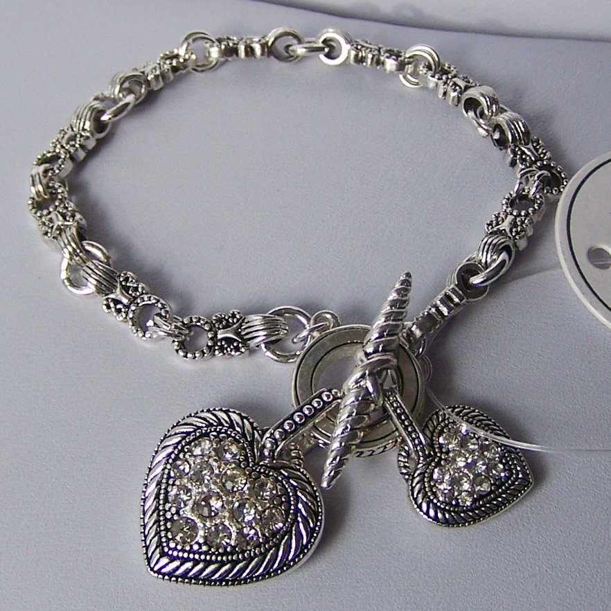 Clear Crystal Two Heart Love Valentines Day Charm Bracelet