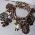 Victorian Tritone Teddy Bear Key Filigree Lady Cameo Heart Love Valentines Day Charm Bracelet