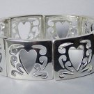 Open Silver Tone Heart Love Valentines Day Bangle Bracelet