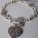 Marcasite Style  Silver Tone Heart Love Valentines Day Charm Bracelet