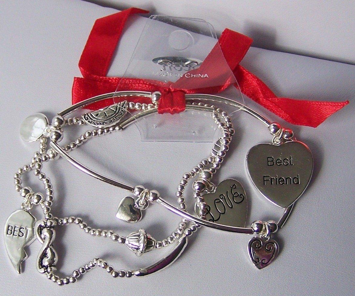 Best Friend Heart Love Valentines Day Charm Bracelet