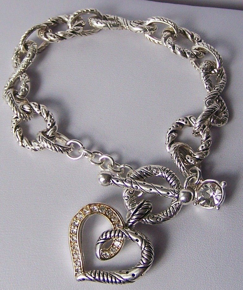 Two Tone Clear Crystal Heart Love Valentines Day Charm Bracelet