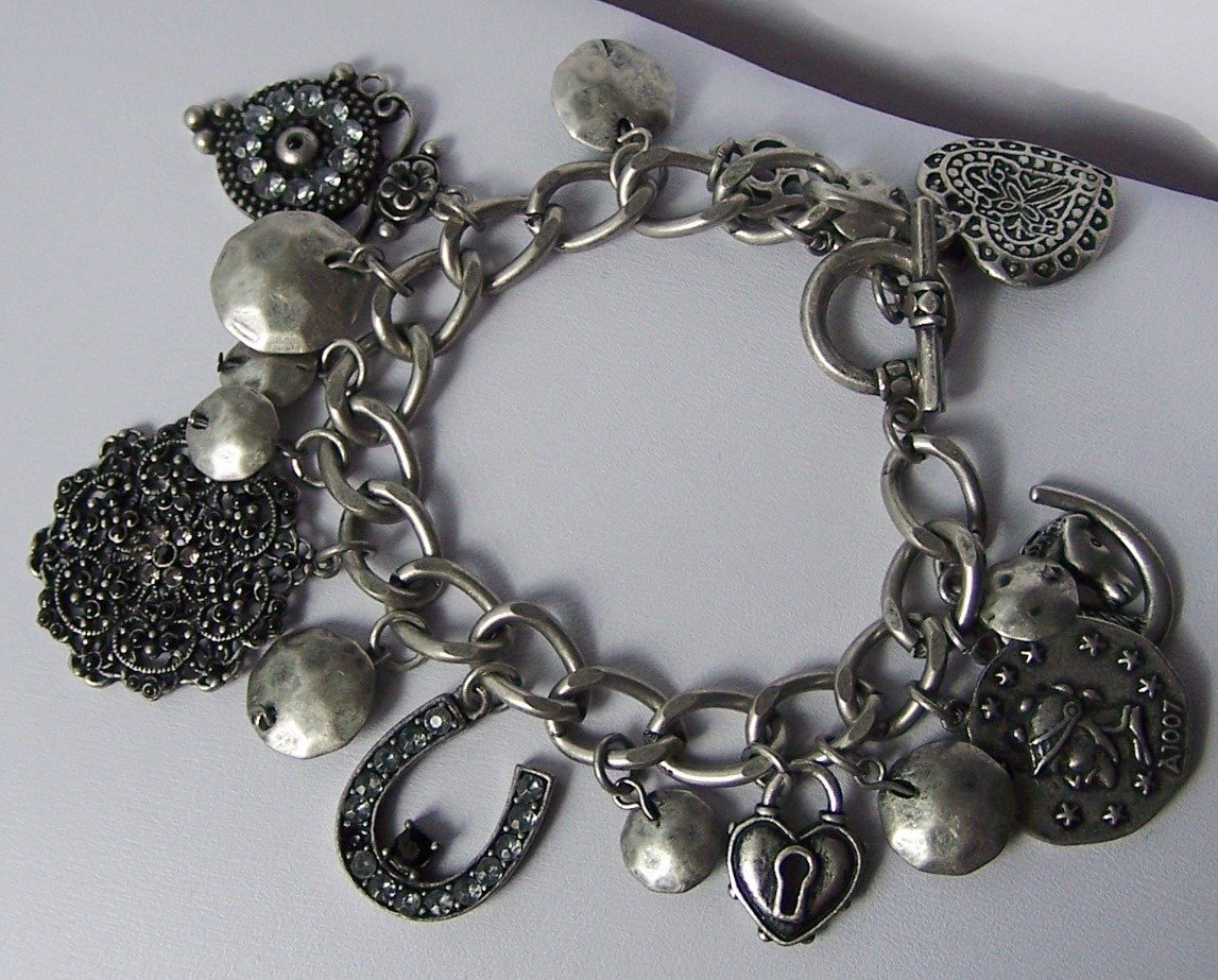 Horseshoe Crystal Heart Love Valentines Day Charm Bracelet