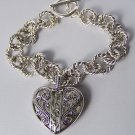Open Filigree Textured Heart Love Valentines Day Charm Bracelet