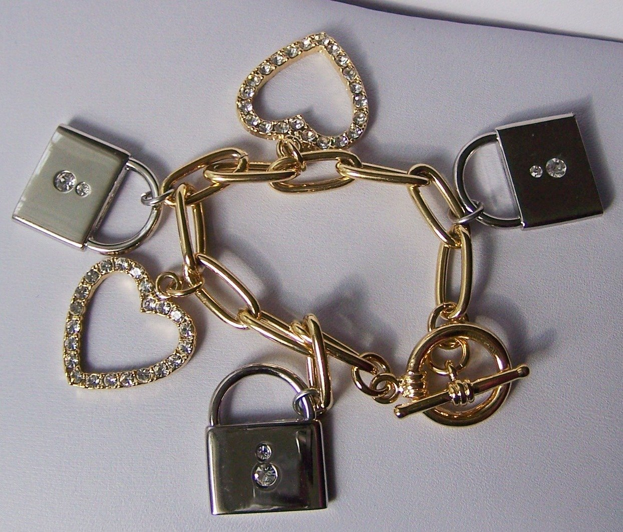 Lock Clear Crystal Two Tone Heart Love Valentines Day Charm Bracelet