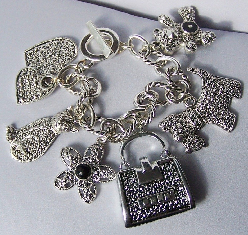 Chunky Scottish Terrier Handbag Flower Cat Teddy Bear Heart Love Valentines Day Charm Bracelet