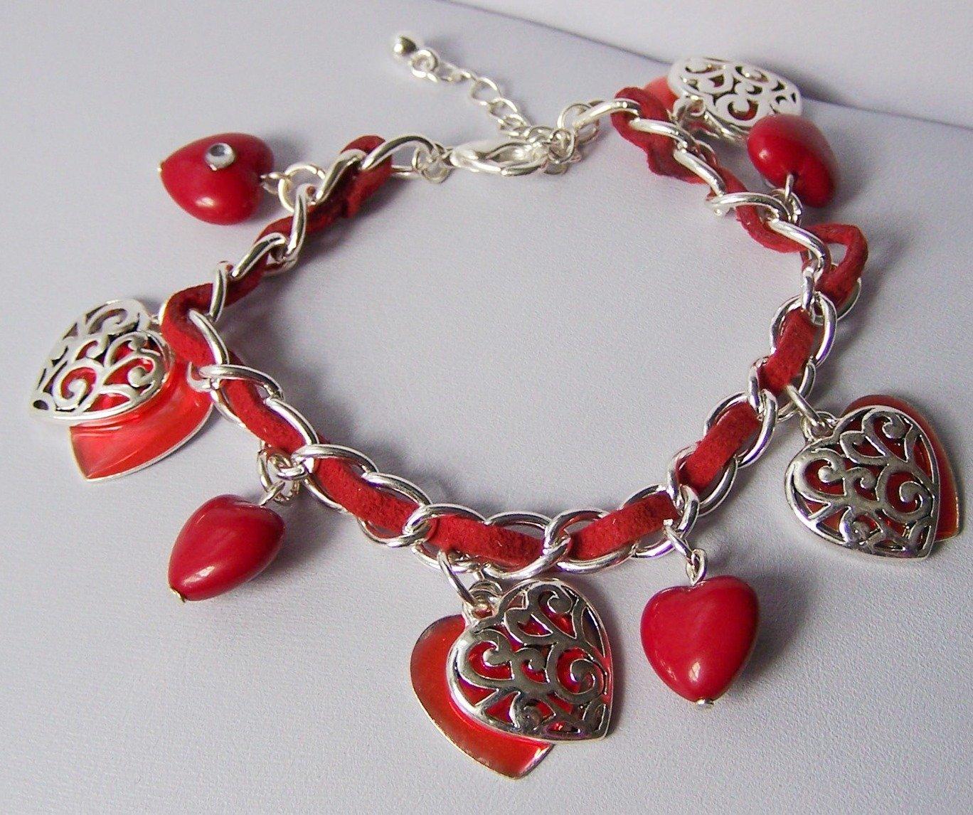 Red Filigree 3D Heart Love Valentines Day Charm Bracelet