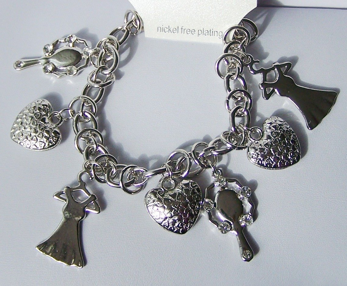 Ladies Stuff Dress Mirror 3D Heart Love Valentines Day Charm Bracelet