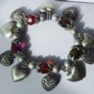 Burnished Multicolor 3D Heart Love Valentines Day Charm Bracelet