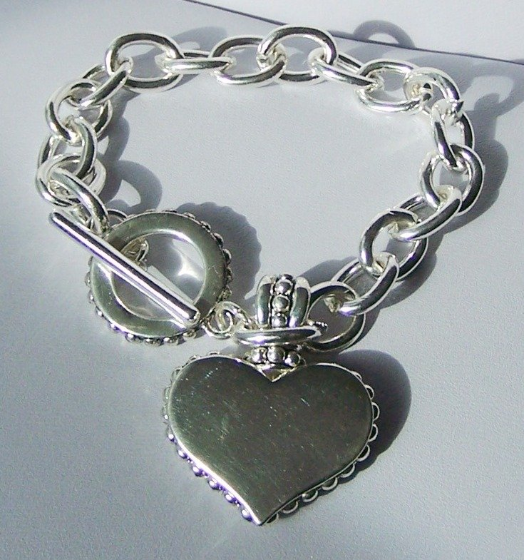 Textured SP Heart Love Valentines Day Charm Bracelet