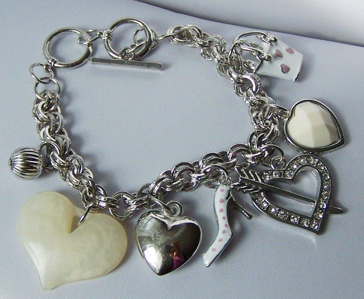 Pink High Heel Shoes Show Clear Crystal Handbag Purse 3D Heart Love Valentines Day Charm Bracelet