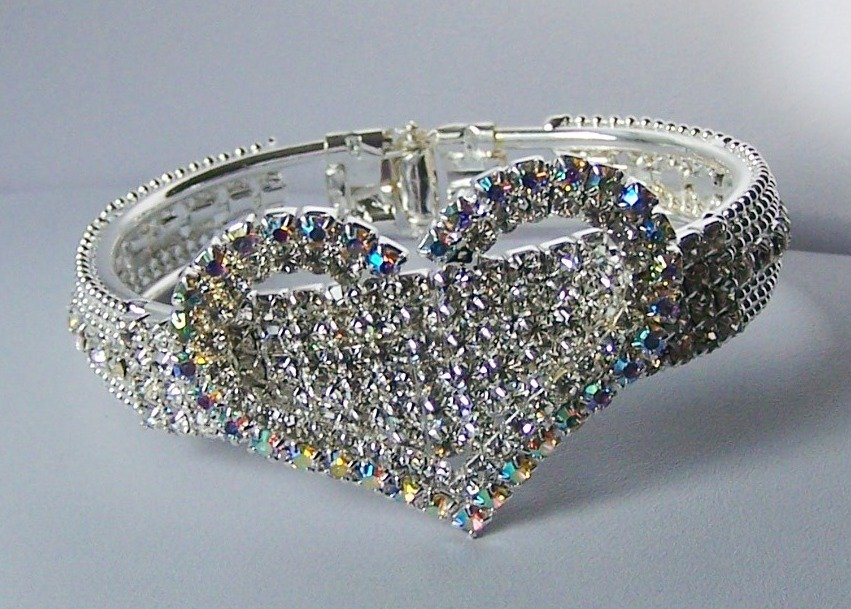 AB Aurora Borealis Clear Crystal Bangle Heart Love Valentines Day Charm Bracelet